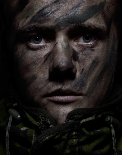 Young male soldier in camouflage copyright portrait photographer Kenneth Rimm