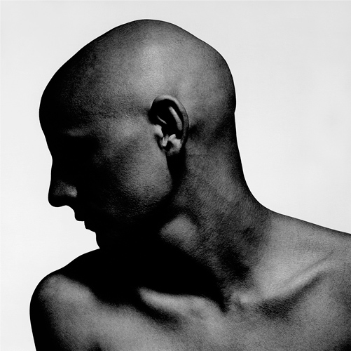 Bald man in profile black white portrait photography inspiration photographed by kenneth rimm